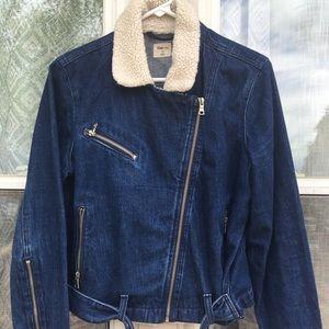 Gap Denim Moto Jacket with Shearling Collar Sz L